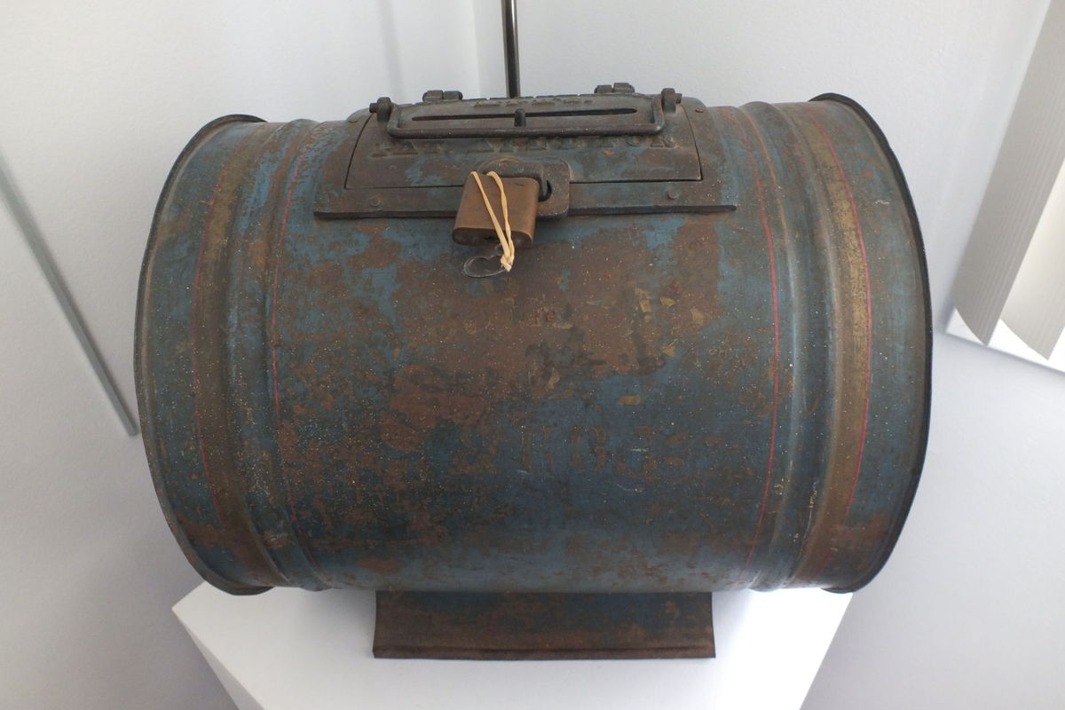 A barrel-shaped tin ballot box, circa 1880, by Geo. D. Barnard & Co. St Louis, MO, found in public works storage building, 2016.  Wendy Hazzard | Submitted