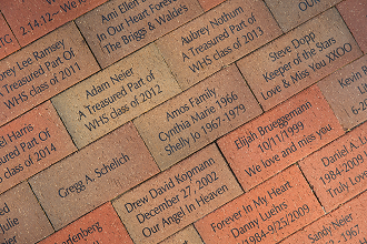 Bricks inscribed with your name for our patio lounge at the Hallberg Center for the Arts.