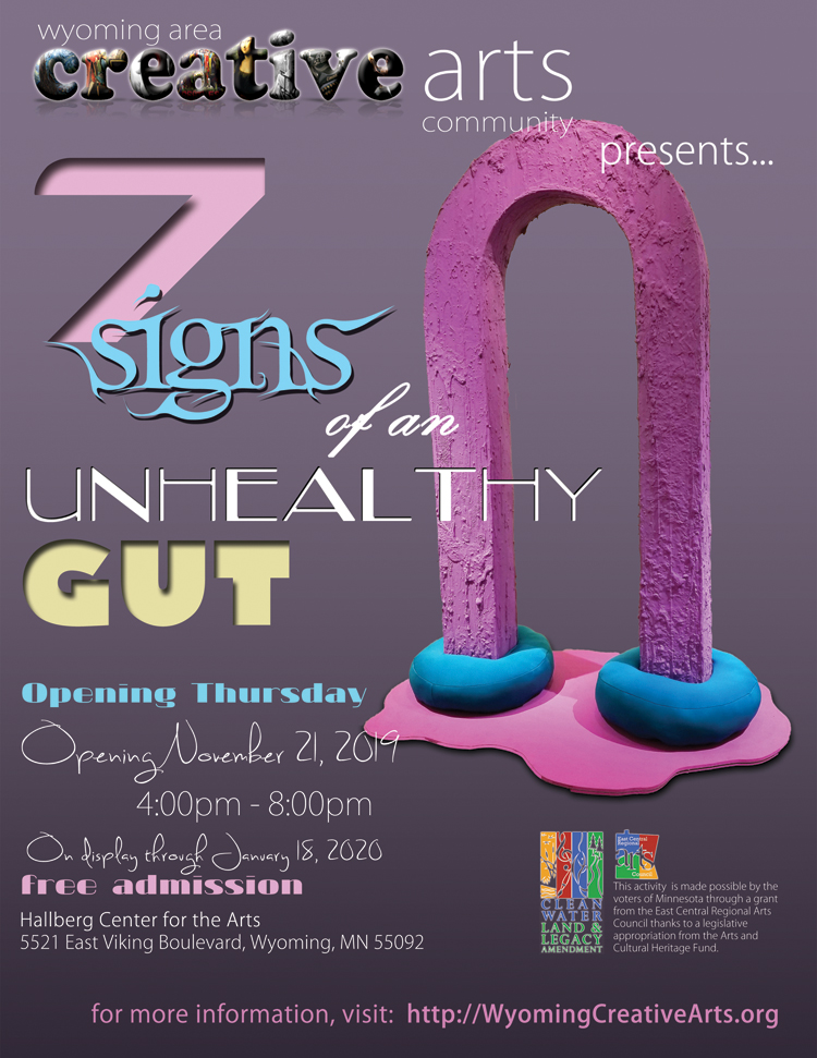 7 Signs Of An Unhealthy Gut - A solo exhibit by sculptor / installation artist Allison Baker
