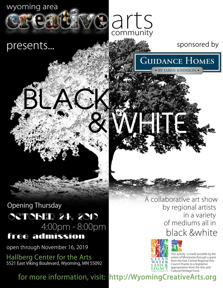Black & White collaborative art exhibit 2019 at the Hallberg Center for the Arts