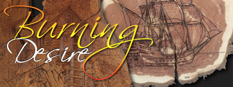 Burning Desire by pyrographic artist, David Freemore in the Underground Gallery of the Hallberg Center for the Arts opens June 20, 2019