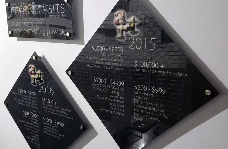 Wyoming Area Creative Arts Community Annual Sponsorship and Donor Plaques at the Hallberg Center for the Arts